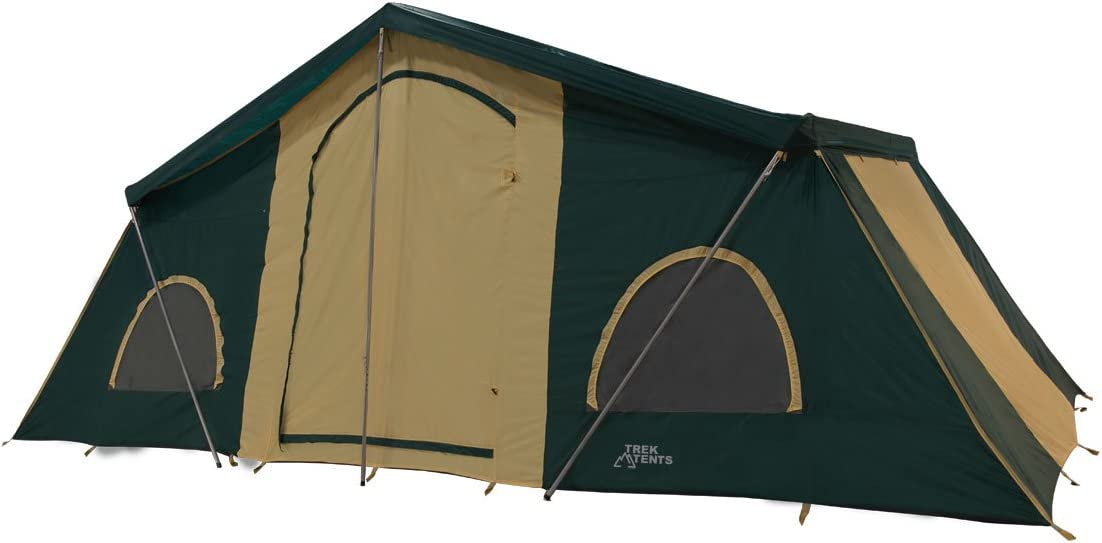 A close-up image of a tent in green and golden colors with doors closed
