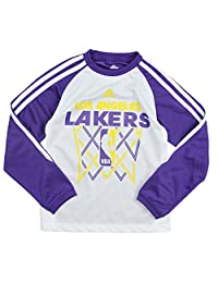 Adidas Los Angeles Lakers NBA Big Boys Performace Long Sleeve Shirt, Purple and White