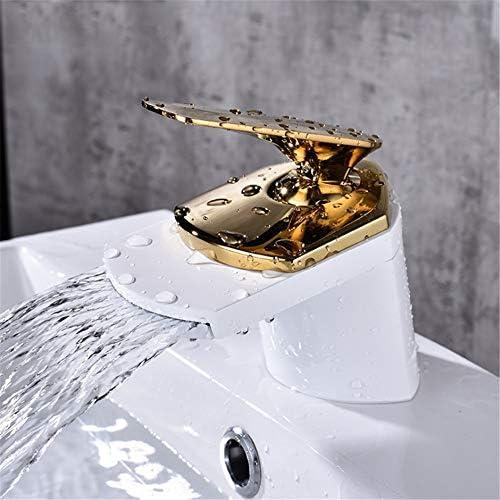 キッチン用水栓 キッチン蛇口 洗面台蛇口 高級フル真鍮滝モダンホワイトゴールド付きシングルハンドル浴室の蛇口真鍮盆地の水栓デッキマウント洗面所冷たいお湯シンクの蛇口