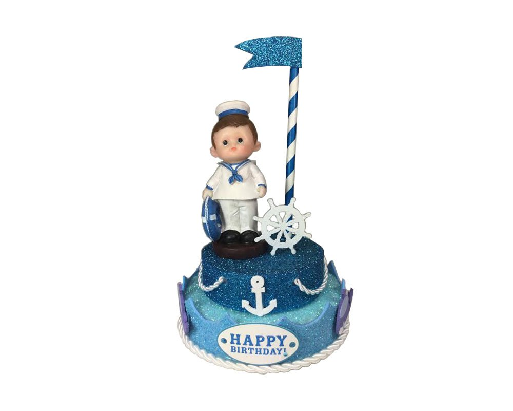 Amazon.com: Nautical Boy feliz cumpleaños decoración de ...