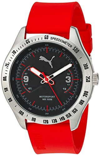 PUMA Quartz Stainless Steel and Polyurethane Watch, Color:Red (Model: PU104031003)