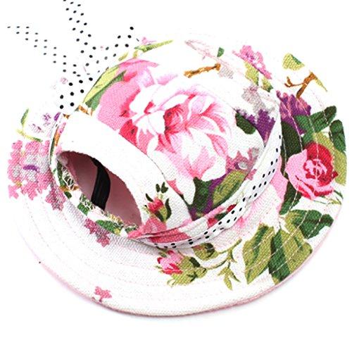 Small Pet Dog Cat Kitten Floral Princess Mesh Strap Hat Cap Sunbonnet