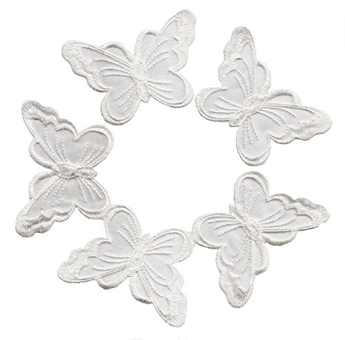 A-52, 5 White Butterfly Patches Bug Embroidered Iron On Applique Patch 2.95 x 1.96 inches(7.5cm x (Butterfly Embroidered Iron)