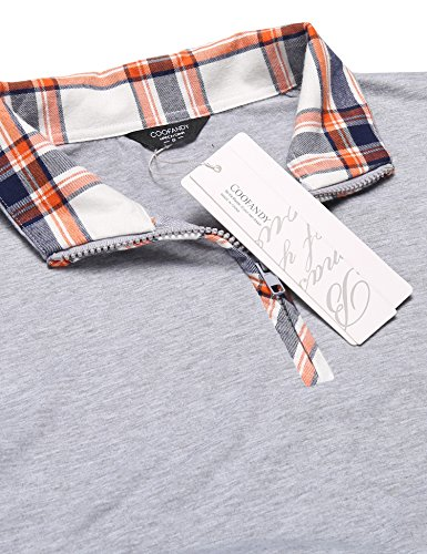 Coofandy Men's Casual Long Sleeve Plaid Shirt Zipper Polo Shirts,Large,Grey by COOFANDY (Image #4)
