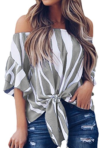 Shoulder Vertical Stripes Blouses Casual Chiffon Tops Grey S ()