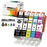 Ms Deer PGI-280 XXL CLI-281 XXL Ink Cartridges Replacements for Canon Pixma TR8520 TR7520 TS6120 TS8120 TS9120 Printer (PGI-280XXL Pigment Black + CLI-281XXL BKCMY, Total 5 Pack)