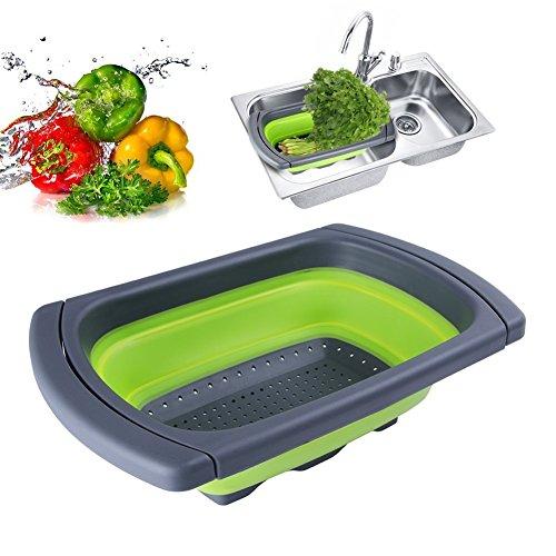 Jaer Colander collapsible, Colander Strainer Over The Sink Vegtable/Fruit Colanders Strainers With Extendable Handles, Folding Strainer for Kitchen,6 Quart(Green)