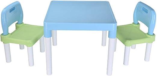 Dolloress Juego de Mesa de plástico y 2 sillas para niños o niñas, para Aprender y