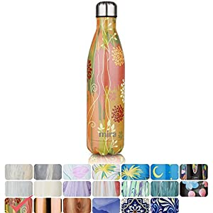 MIRA Vacuum Insulated Travel Water Bottle   Leak-proof Double Walled Stainless Steel Cola Shape Sports Water Bottle   No Sweating, Keeps Your Drink Hot & Cold   25 Oz (750 ml) (Yellow Vine)