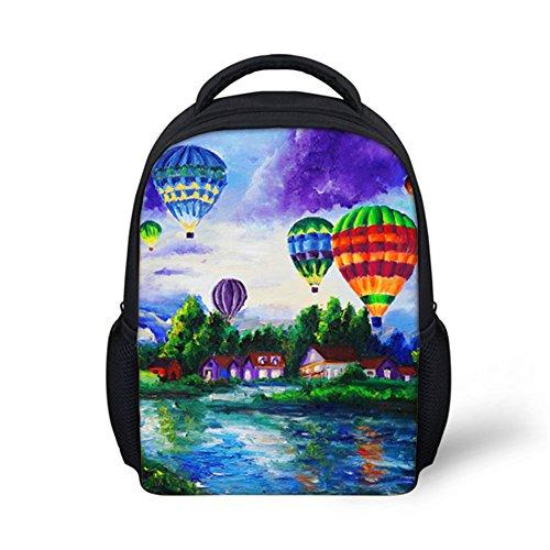 Showcool Unisex Backpack 3D Printed Oil painting hot air balloon Pattern Cool Baby Toddler Schoolbag Shoulder zipper Book Bag Preschool for Boys girls Kids Kindergarten -