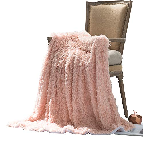 Anvi Home Feather Faux Fur Throw/Super Soft Fleece Throw Fluffy Feel Lightweight Warm Elegant Cozy/Perfect to Layer with Your Bed Or to Snuggle Up On The Couch and Travel - 50''X60'' - Pink