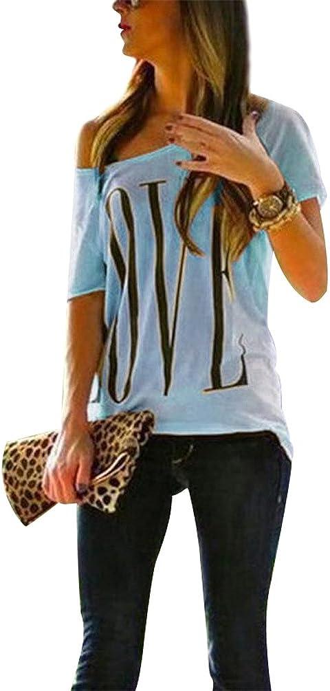 Maglietta T Shirt Donna Magliette Maniche Corte Camicie Top Estive Blusa Eleganti Divertenti Magliette Maniche Corte Spalla Scoperta con Scritte Love Maglia Girocollo Femminili Maglie Top