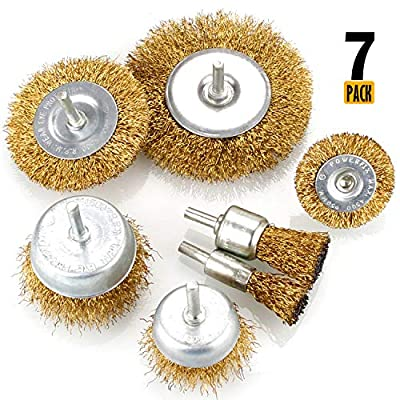 Eliseo 7pcs Wire Brush Kit for Drill, Brass Coated Wire Brush Wheel & Cup Brush Set with 1/4-Inch Shank, 7 Sizes Coated Wire Drill Brush Set Perfect for Removal of Rust, Corrosion, Paint