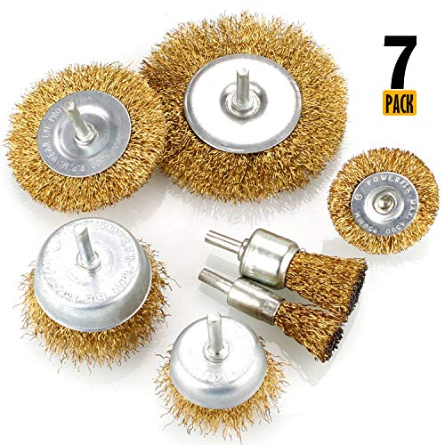 Brush Brass Wheel - 7pcs Wire Brush Kit for Drill, Brass Coated Wire Brush Wheel & Cup Brush Set with 1/4-Inch Shank, 7 Sizes Coated Wire Drill Brush Set Perfect for Removal of Rust, Corrosion, Paint