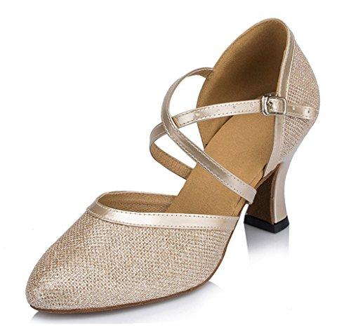 10e39b272c5 Doris Womens Mid Heel Round Toe UP Leather Salsa Tango Ballroom Latin  Wedding Party Dance shoes