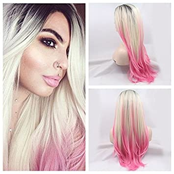 Kylie Jenner Ombre Black Blonde To Pink Nature Wave Hair Wigs Synthetic Lace Front Wig Heat Resistant Fiber Three Tone Women Wig Amazon In Beauty