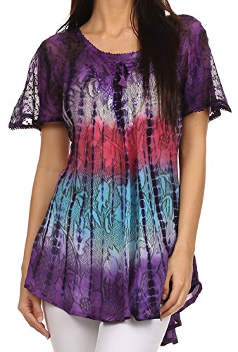 Sakkas 14783 - Dina Relaxed Fit Sequin Tie Dye Embroidery Cap Sleeves Blouse/Top - Purple - One Size Regular ()