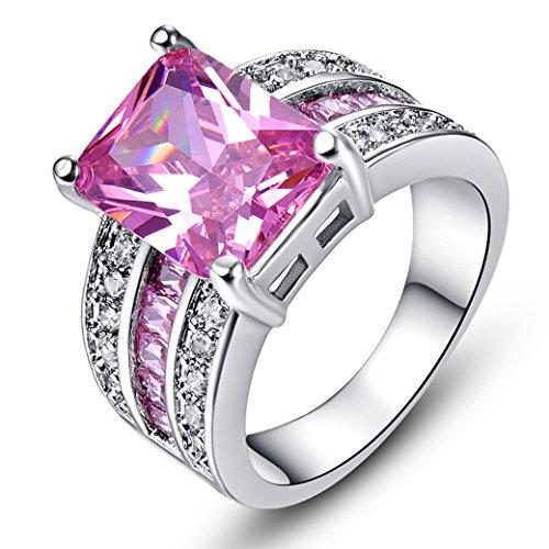 PAKULA Women's Fashion 9mmx12mm Emerald Cut Pink Topaz CZ Engagement Ring Band ()