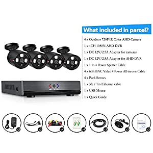 SW Swinway 4CH Security Camera System Full 960H DVR Recorder With 4 psc AHD CCTV Bullet Cameras Home Security System, 720P High Resolution IP66 Weatherproof, Day/Night IR-Cut Built-in 500GB Hard Drive by Shenzhen SUMWIN e-commerce co.,ltd