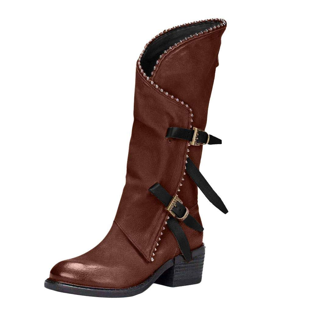 TIFENNY Long Tube Boots Women's High-Heel Cross-Strap Lace Buckle Flat Bootie Lace-Up Mid-Boot Shoes Party Shoes by TIFENNY_Shoes