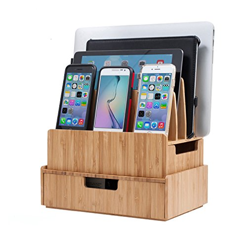 Plus Drawer - Charging Station Stand Combo with Bamboo Drawer; Extra Storage for Smartphones, Tablets, Laptops & Organizer for Office Supplies and Stationary Items