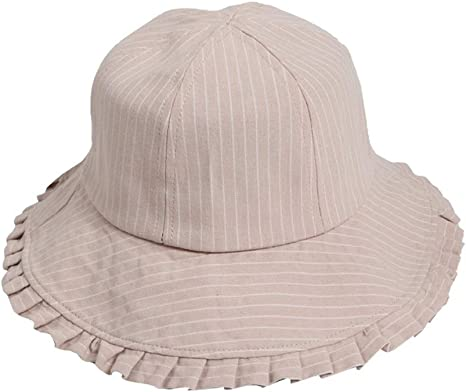 Sombrero de pescador a rayas para mujer con cuerda a prueba de viento Sombrilla para el
