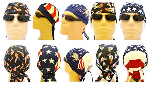American Flag Doo Rag Patriotic Skull Caps Eagle Stars and Stripes -