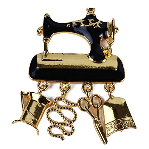 Yunzee Creative Sewing Machine Brooch Pin, Shiny Rhinestone Enamel Women Badge Fashion Jewelry Dress Accessory