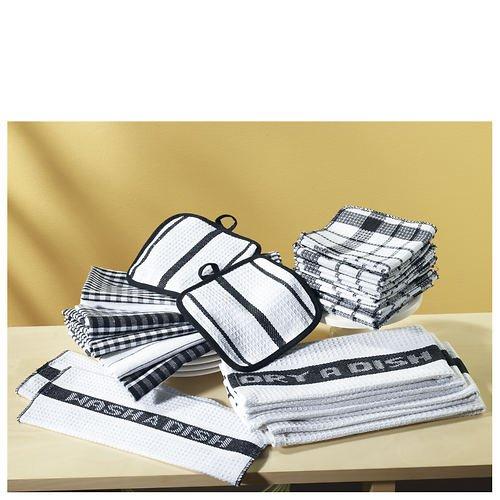 Textiles Kitchen (Home Basics A41700-Black 17 Piece Utility Kitchen Towel Set, Black)