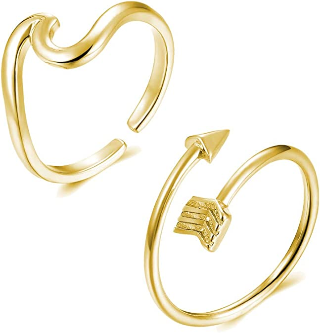 choice of all Adjustable Arrow Knot Wave VSCO Rings for Women Simple Adjustable Rings Set for Teen Girls