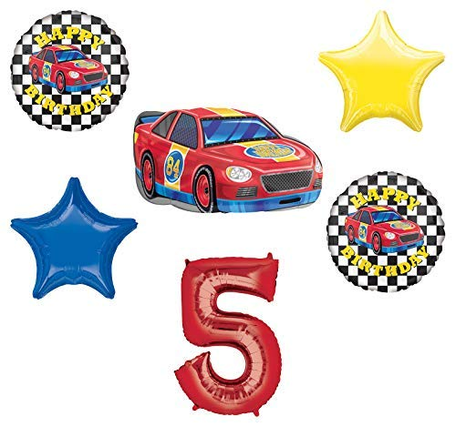 Race Car Theme 5th Birthday Party Supplies Stock Car Balloon Bouquet Decorations