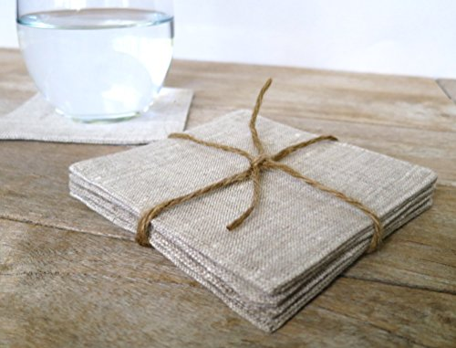 Set of 4 Linen Coasters, Heathered Linen (Heathered Linen)
