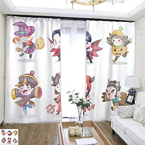 Children Curtain Cute Style Set of Children in Halloween Costume Vector Illustration W72 x L78 Reduce Noise Highprecision Curtains for bedrooms Living Rooms Kitchens -