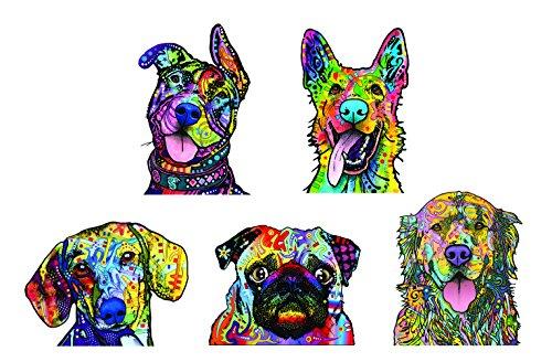 - Enjoy It Dean Russo Dog Car Sticker Set - 5 Pack (Pit Bull, German Shepherd, Dachshund, Pug, Golden Retriever)