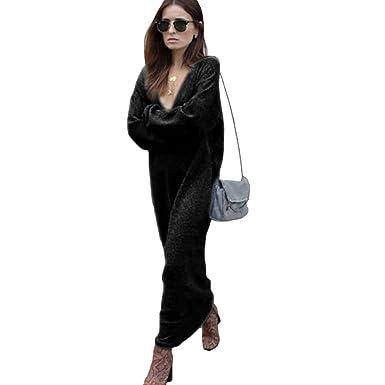 d3b650bb210 Romacci Winter Women Maxi Loose Knitted Sweater Dress Deep V Neck Long  Sleeve Ladies Knitwear Casual Jumper Dress  Amazon.co.uk  Clothing