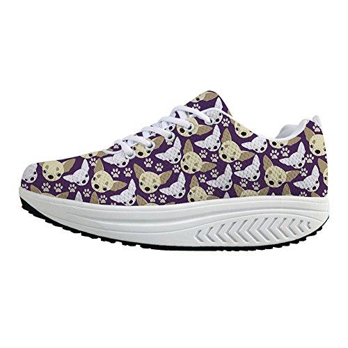 Bigcardesigns Sneaker Donna Chihuahua Sliming Scarpe Da Passeggio Viola