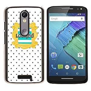 YiPhone /// Prima de resorte delgada de la cubierta del caso de Shell Armor - Texto del trullo del oro Modelo de lunar - Motorola Moto X3 3rd Generation