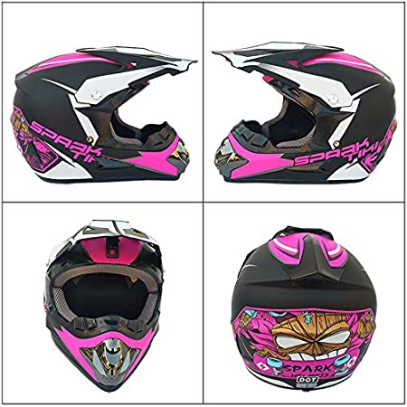 Ocamo Fashion Outdoor Off Road Casco Motorcycle /& Moto Dirt Bike Motocross Racing Helmet Set with Mask L Matte black and blue