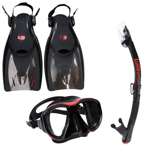 - TUSA Sport Adult Powerview Mask, Dry Snorkel, and Fins Travel Set, Large, Black/Red