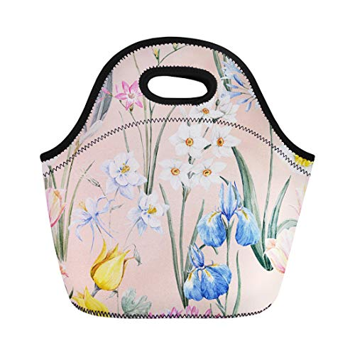 Semtomn Neoprene Lunch Tote Bag Watercolor Floral Spring Pattern Botanical Tulip Flowers Narcissus Pink Reusable Cooler Bags Insulated Thermal Picnic Handbag for Travel,School,Outdoors,Work