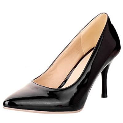 Zanpa Fashion Women Heels Shoes Basic Slip on Work Pumps Stiletto Plus Sizes