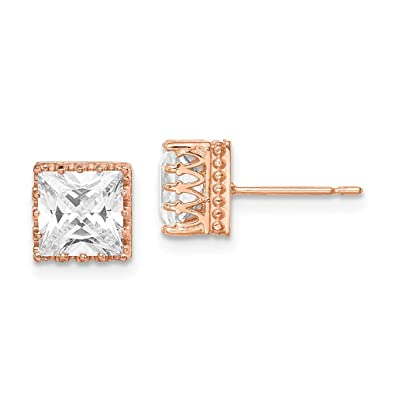 daa561cb2 10k Tiara Collection 7mm Rose Gold Polished Square Cubic Zirconia Earrings  - Higher Gold Grade Than 9ct Gold: Amazon.co.uk: Jewellery