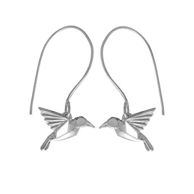 Boma Jewelry Sterling Silver Origami Hummingbird Earrings