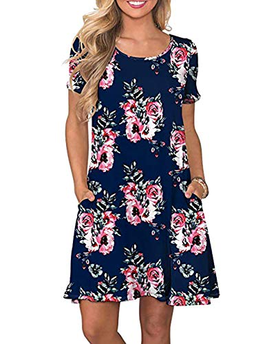- Women's Summer Short Sleeve T Shirt Dress Casual Midi Dress with Pocket Damask Floral Printed Swing Tunic Dress for Leggings (Navy Blue, S)