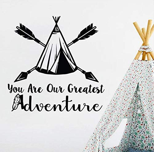 wuyyii Nursery Bedroom Decor Arrow Wigwam Vinyl Wall Sticker You are Our Greatest Adventure Quote Wall Mural Arrow Design Decal 41X42Cm