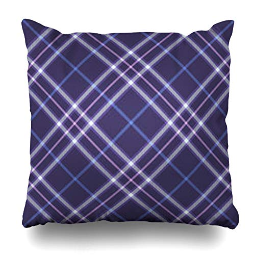 Homeyard Throw Pillow Cover Symmetry Blue Britain Tartan Pattern Abstract Pink British Celtic Checkered Classic Color Tile Home Decor Sofa Cushion Square Size 18 x 18 Inches Zippered Pillowcase ()