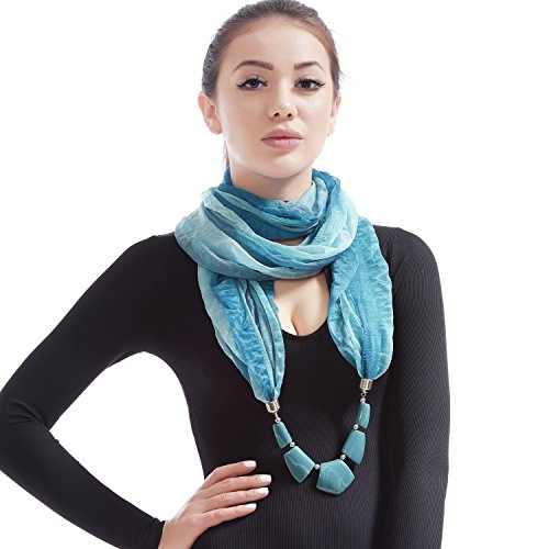 LERDU Women's Infinity Scarf Necklace Gift Idea jewelry Pendant Scarfs Soft Long Infinity Scarves Turquoise Blue