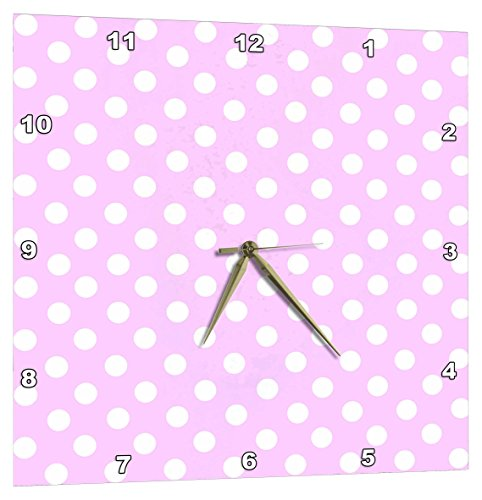 - 3dRose White Polka Dot Pattern on Baby Pastel Pink - Retro 1950S Cute and Girly Dots - Wall Clock, 15 by 15-Inch (DPP_56688_3)