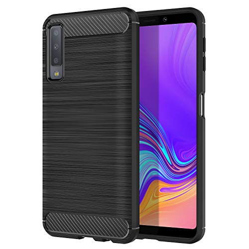MoKo Compatible with Samsung Galaxy A7 2018 Case, Soft Lightweight TPU Bumper Cover Carbon Fiber Design Anti-Scratch Slim Back Panel Shock Aborsption Shell Fit with Samsung Galaxy A7 2018 - Black