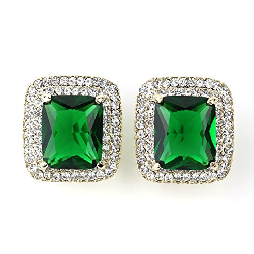 Brilliant Cut Princess Bracelet - Brilliant Princess Cut Faux Emerald Earrings with Dazzling Swarovski Style Crystals